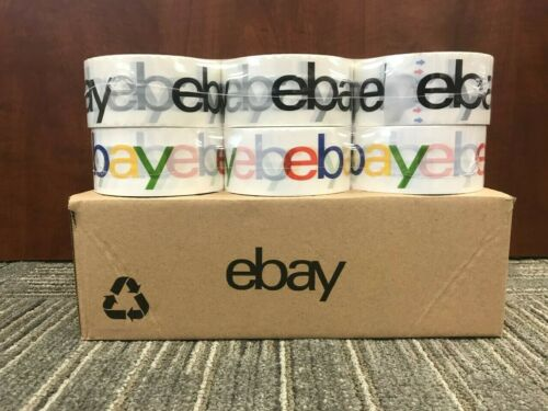 12 Rolls Combo eBay Branded Packaging Shipping Tape BOPP 75 Yards 2.5 Mil Thick
