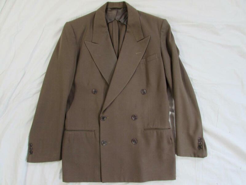 Vtg 40s 50s Peak Lapel Double Breasted Gabardine Gab Blazer Sport Coat Jacket