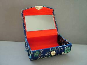 Double Lipstick Case,Mirror, Embroidery,Dark Blue