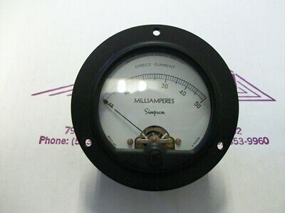Simpson Electric Round Style Analog Panel Meter Dc Ammeters 0-50 Milliamperes