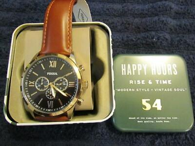 Fossil Flynn Chronograph Brown Leather band Watch in a metal display box