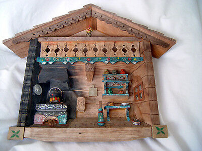 VINTAGE WOOD FOLK ART ALPINE CABIN MINIATURE WALL HANGING HAND MADE CRAFTED