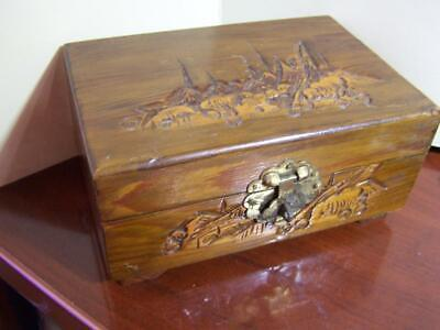 Antique Asian Hand Carved Hinged Trinket Ring Box 6x4x 2 3/4