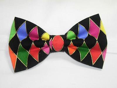 Colorful Diamonds with Metallic Gold / Pre-tied Bow tie (Mardi Gras Bow Tie)