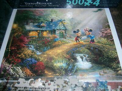 Ceaco Thomas Kinkade Disney 500 Piece Jigsaw Puzzle Mickey and Minnie