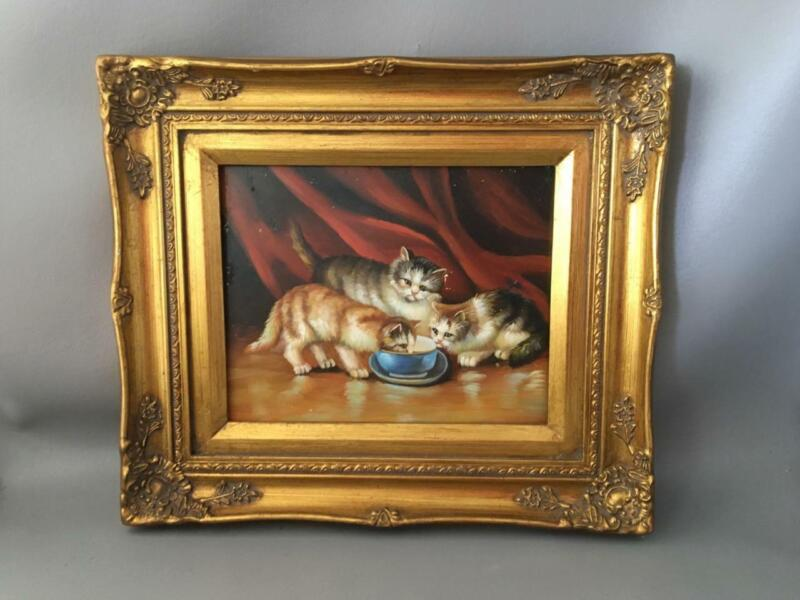 VINTAGE KITTY CATS OIL PAINTING on BOARD with GOLD GILT WOOD FRAME