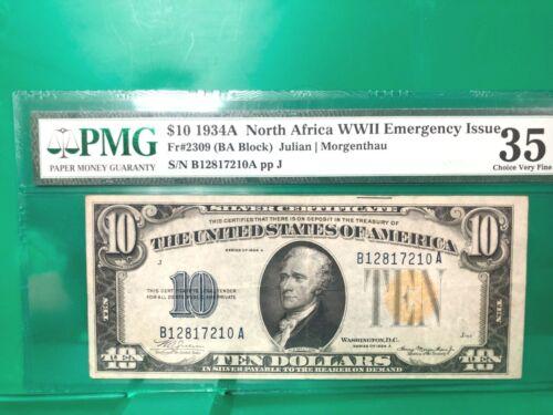 1934A NORTH AFRICA $10 (BA BLOCK) WWII EMERGENCY ISSUE  PMG 35 Q2LR