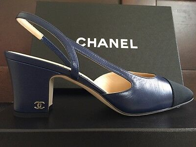 NIB CHANEL TWO TONE SLINGBACKS US7.5 EU37.5