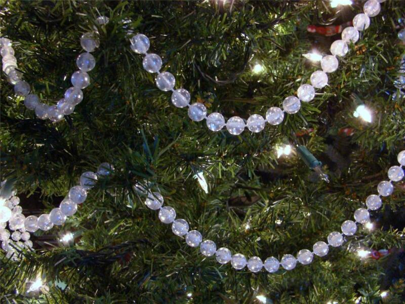 8MM CLEAR IRIDESCENT PLASTIC  BEAD CHRISTMAS TREE GARLAND~WEDDINGS~CRAFTS~8 FEET
