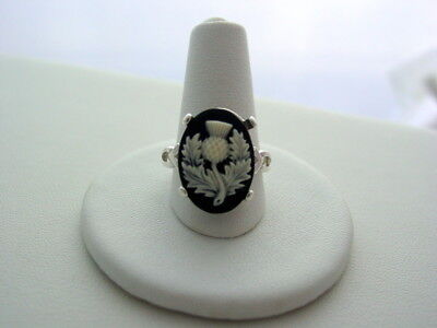 Scotland's National Flower Outlander Thistle Sterling Silver Black Cream Ring National Silver Thistle
