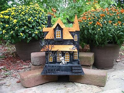 Large Halloween Lighted Haunted House Tall Tower Glittered