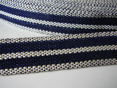 Antikes Textilband Vintage Stoffband Dekoband dunkelblau weiß ca. 50m 0,20€/m