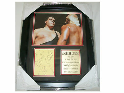 WWF WWE Andre The Giant Autographed Reprint 8x10 Photo Vs. Hulk Hogan Framed