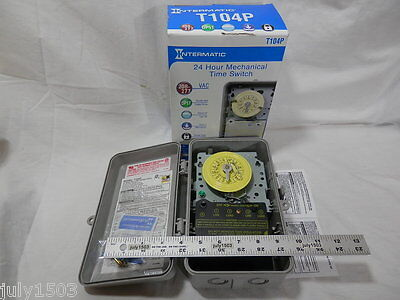 1 New Intermatic T104p Mechanical Timer 208277 Volt Dpst Water Pool Heater