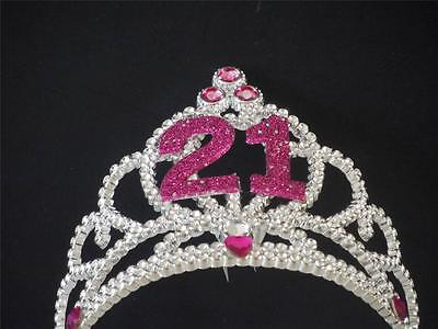 21St Birthday Tiara Glittering Silver And Pink  21 First Birthday Party Tiara