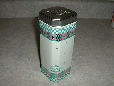 Arizona Tea Tin Collectible Iced Mix Empty Checkerboard  Metal  Pink Teal 2005