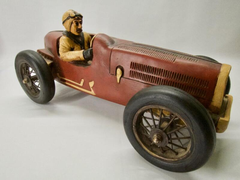 """Large 19"""" Hand Made Vintage Wooden Toy Race Car With Driver Speedway (MN5158)"""