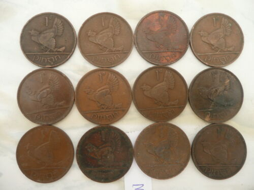 Lot of 12 Irish One Penny Coins of Ireland - Hen with Chicks - Lot 3