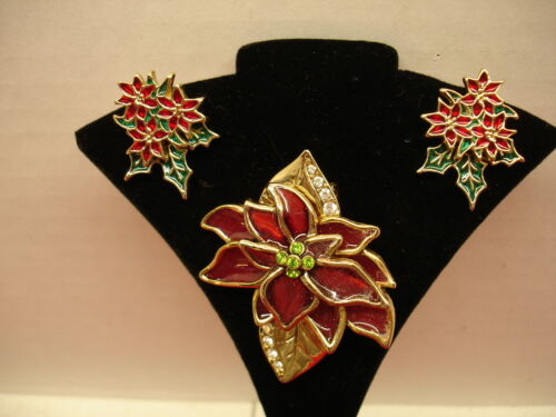 CHRISTMAS POINSETTA BROOCH AND EARRING SET
