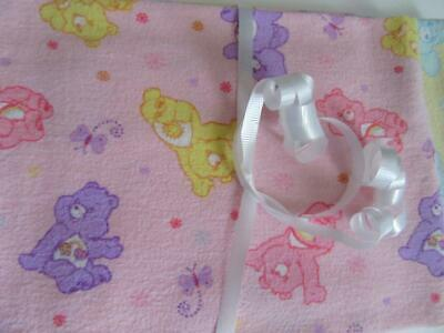 Vintage Lot of 2 Care Bears Bedtime Bear Baby Receiving Blankets Security Lovey Care Bear Infant Blankets