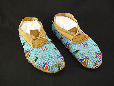 A Beaded pair of Souix Moccasins, Native American Indian, Circa: 1900