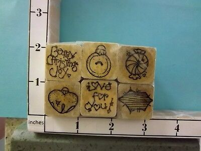 - Set 6 Whismy Christmas Stamps Saying Holly Ornament Bell Candy rubber stamps 25H