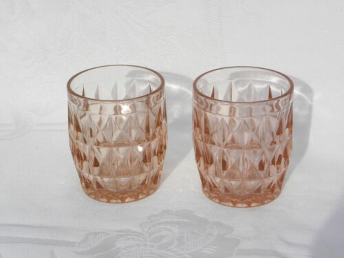 "Pr Vint Jeanette Glass Windsor Diamond Pink Depression Glass 3 ¼""  5 oz Tumblers"