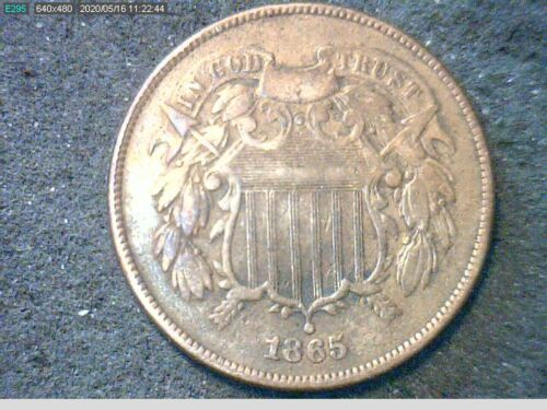 """1865 Shield Two Cent Piece - Fancy """"5""""- Civil War Issue - Nice Very Good+- LOOK"""