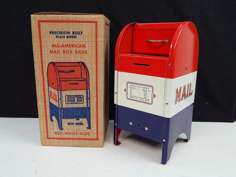 Vintage Superior Stationary All American Mail Box Bank Tin Litho Still Bank