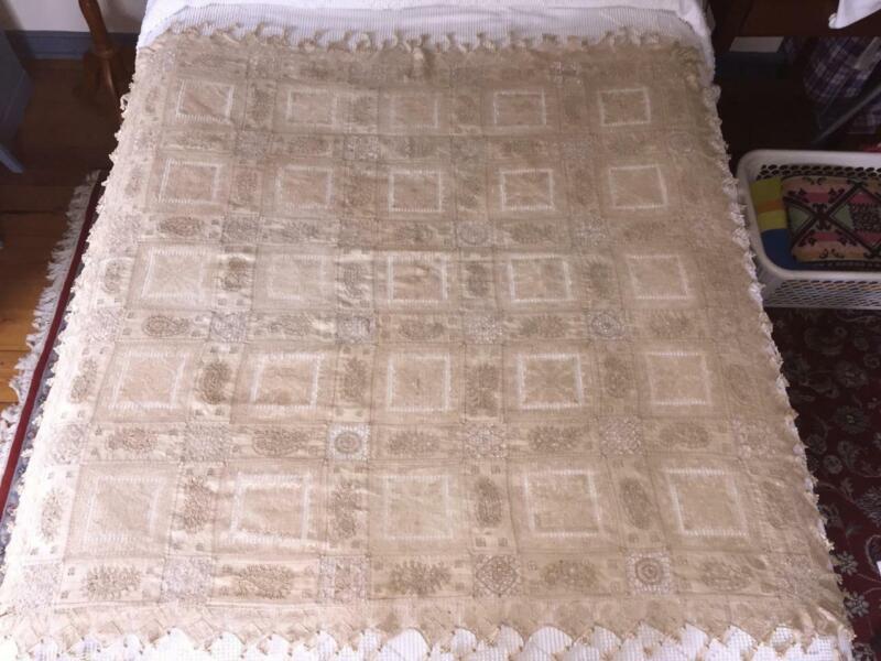 Antique Linen Tablecloth Fine Handwork Filet Needle Lace ECRU Paisley Tassels
