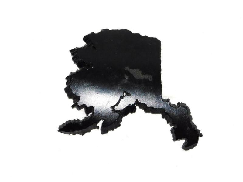 Black State of Alaska Map Cut From Piece of Trans Alaska Pipeline Metal Heavy