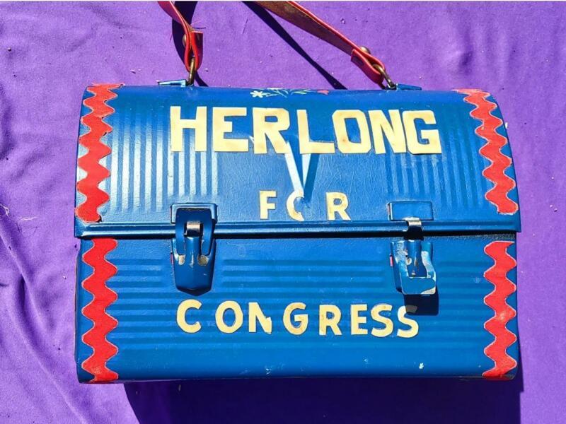1968 Congressional Campaign Folk Art Lunch Box William Herlong Leesburg,Florida