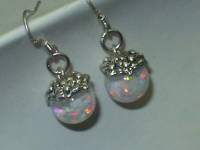 Opal earrings dangle  beautiful FLOATING OPAL SNOW GLOBE 925 STERLING