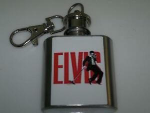 Elvis-Presley-The-King-Hip-Flask-1oz-Key-Ring-Rock-Music-Concert