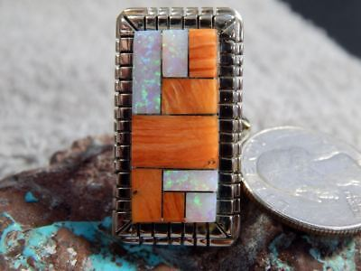 Ladies Sterling Silver Spiny Created Opal  Inlay Ring Navajo Ray Jack Size 9 1/2