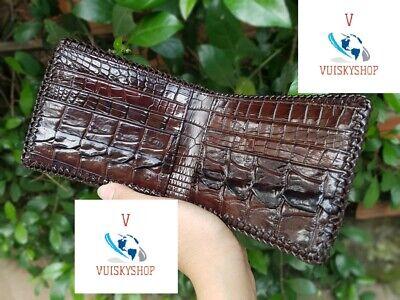Genuine Crocodile Alligator Wallets Skin Leather Bifold Men's brown type 1 ()