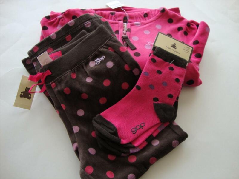 Baby Gap LADYBUG LOVE Pink Brown Dot Velour Hoodie Pants & Socks Girl Size 4 5