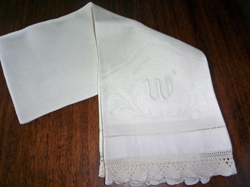 "Beautiful Antique Damask Huck Linen Bath Towel Monogram ""W"" Crochet Edges Mint!"