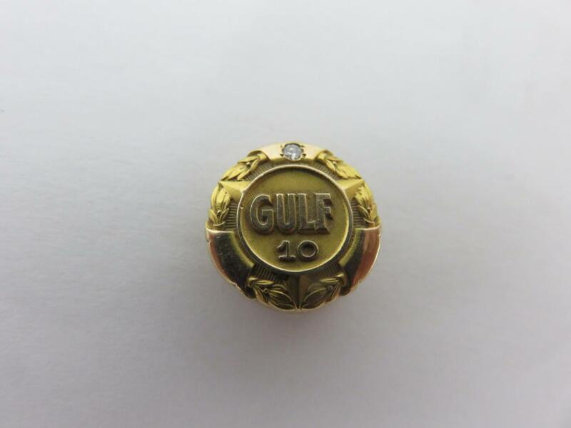 GULF OIL 10 Year SERVICE AWARD PIN Diamond & 10K Gold GAS Tie Tack Lapel Balfour