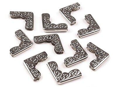 100 Stück Buchecken Metallecken Ecken 17x17x5x2 mm vernickelt NEUWARE
