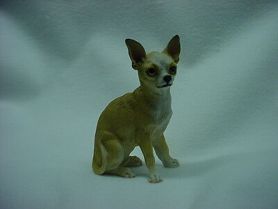 CHIHUAHUA FIGURINE dog HAND PAINTED Resin Statue Tan Brown Puppy COLLECTIBLE NEW