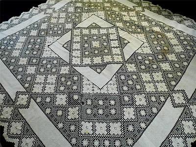 Exquisite Antique HandMade Mondano Netting Lace Linen Tablecloth