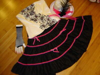 Ringmaster circus performer costume womens 8 white black dress Mardi Gras](Circus Performer Costume)