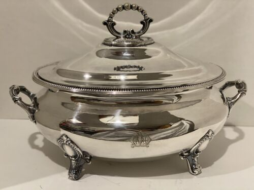 Antique Soup Tureen 19th Century Silver Plate Collis & Co. Monogrammed M