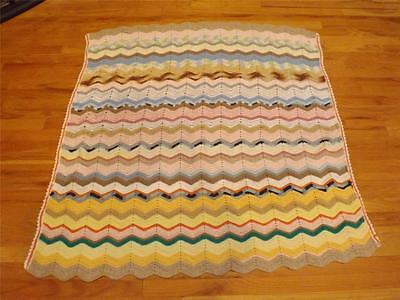 "Vintage Pastel Zig Zag Wavy Afghan Boho Bohemian Style Blanket Throw 49"" x 52"""