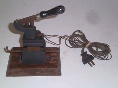 Antique Cast Iron Hot Foil Stamping Machine Small Size Wwooden Plug Early 1900s