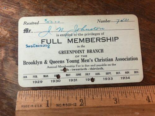 Brooklyn New York YMCA Young Mens Christian Association 1932 Membership Card