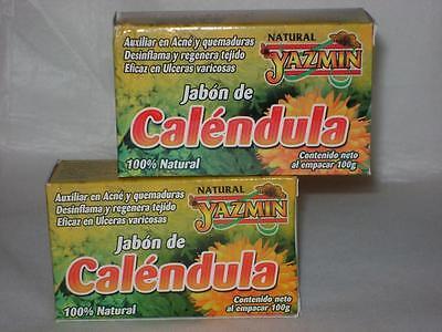 2 Pack   Jabon Calendula Marigold Soap Heal Skin Acne Burns Bruises Cuts Ulcers