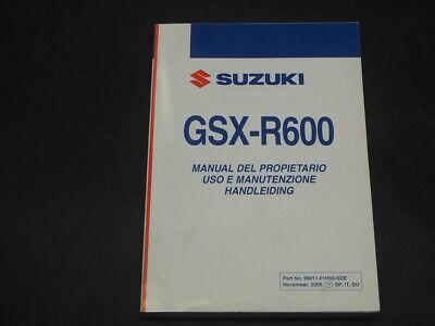 SUZUKI GSX-R600 K6 2006 USO E MANUTENZIONE HANDLEIDING MANUAL DEL PROPIETARI0