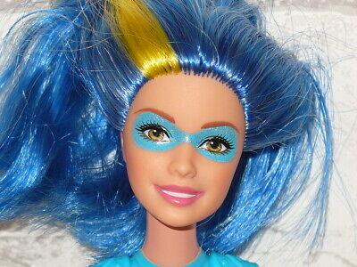 Mattel Barbie Doll Princess Power Superhero Doll Blue Hair Sparkle Doll Barbie Blue Princess Doll